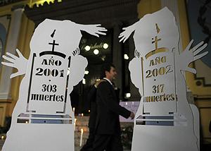 Figuras que simulan tumbas, a las puertas del Parlamento guatemalteco. (Foto: EFE)