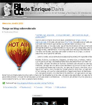 El blog de Enrique Dans ha sido uno de los más mencionados como sobrevalorado.
