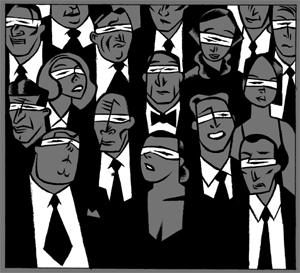 Personas con los ojos vendados. (Ilustración: Santiago Sequeiros).