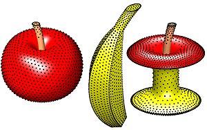 Puntos situados sobre distintas superficies, cuya disposición más estable ha sido lograda con cálculos desde el ordenador Finisterrae. (Foto: i-Math)