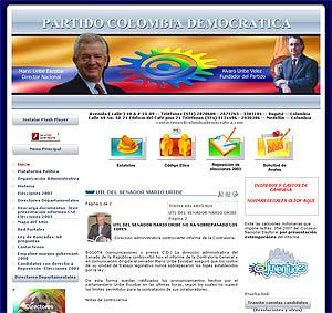 La página web del Partido Colombia Democrática, con las imágenes de Álvaro Uribe Vélez y Mario Uribe Escolar.
