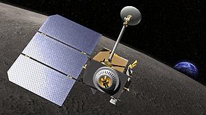 Recreación de la LRO en órbita lunar, con la Tierra al fondo. (Foto: NASA)