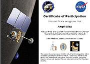Un certificado de 'participación' en la misión. (Foto: NASA)