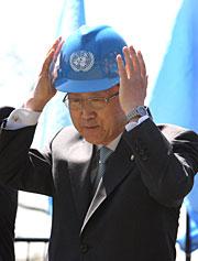 Ban, en la inauguración de las obras. (Foto: AFP)