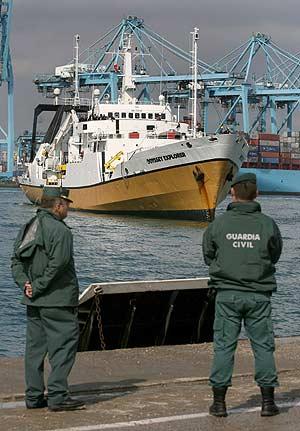 Un barco de Odyssey en el puerto de Algeciras el pasado octubre. (Foto: AFP)