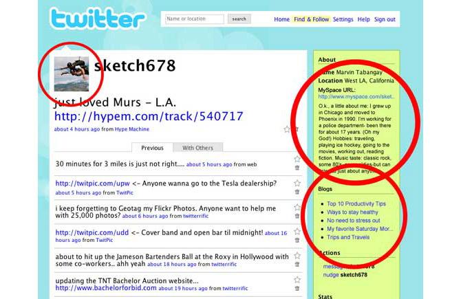 Un ejemplo de cómo se integrarían los datos de MySpace en Twitter. (Foto: TechCrunch)