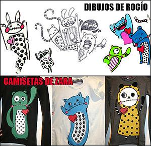 El 'parecido razonable' de los dibujos de la ilustradora y las camisetas de la marca. (Foto: Rocío Cañero)