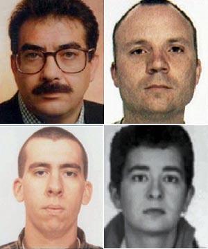 De arriba abajo y de izquierda a derecha: Francisco Javier López Peña, alias 'Thierry', Jon Salaberria, Igor Suberbiola e Ainhoa Ozaeta. (Foto: EL MUNDO)