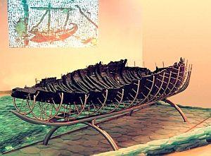 Barca del siglo I que se exhibe en el Museo de la Barca del Siglo I. (Foto: EFE)