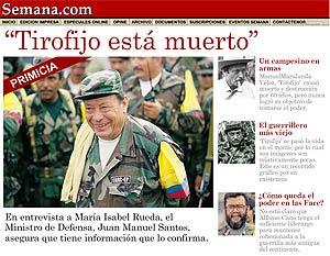 La página web de la revista 'Semana', con la información sobre 'Tirofijo'.