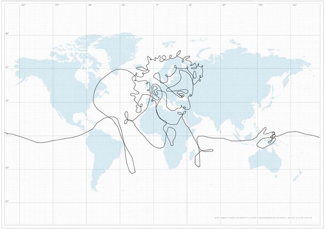 El autorretrato sobre un mapa de todo el planeta.