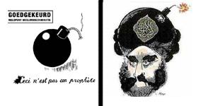 A la izquierda, un dibujo en el que Nekschot se dirige al MDI y le dice 'Aquí no hay un profeta', en alusión a la publicada en 'Jyllands Postem' (drch)