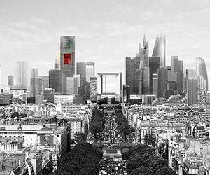 Recreación virtual del complejo de La Defense de París rematado con la Tour Signal diseñada por Nouvel. (FOTO: ELMUNDO.ES)