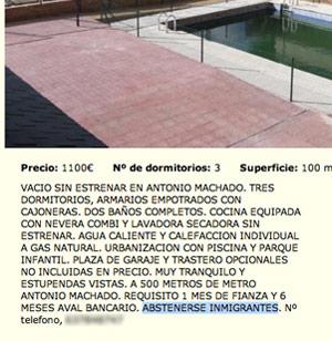 Imagen de uno de los anuncios donde se veta a los inmigrantes en Madrid capital. (FOTO: ELMUNDO.ES)