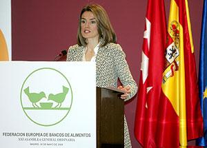 La Princesa de Asturias se dirige a los asistentes de la Asamblea Anual de la Federación Europea de Bancos de Alimentos. (Foto: EFE)