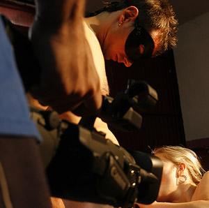 Un moment.o del rodaje de un casting porno en Madrid. (Antonio Heredia)