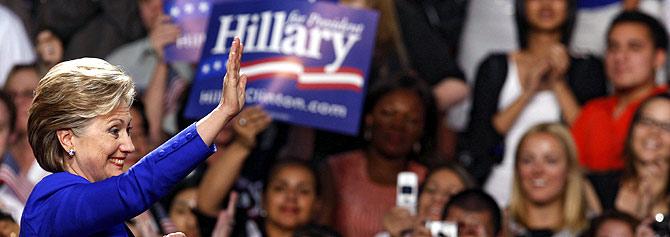 Hillary Clinton, en un momento del discurso. (Foto: REUTERS)