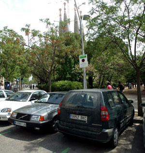 Un vehículo mal estacionadop en una zona verde. (Foto: Antonio Moreno)