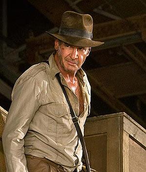 Harrison Ford, caracterizado de Indiana Jones, en un momento de la cuarta entrega de la película.