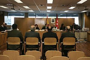 Cúpula de la Policía Científica, este martes en el juicio del ácido bórico. (Foto: Diego Sinova)
