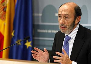 El ministro del Interior, Alfredo Pérez Rubalcaba. (Foto: EFE)