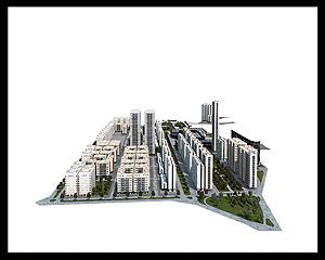 Simulación infográfica del futuro y centro de negocios en la zona de los talleres de Renfe. (IMAGEN: AYTO DE VALLADOLID)