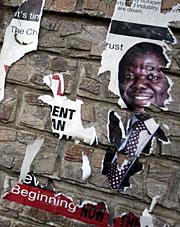 Cartel del líder opositor en Harare. (Foto: AFP)