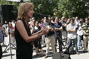 Rosa Díez durante el debate en Madrid. (Foto: Javi Martínez)