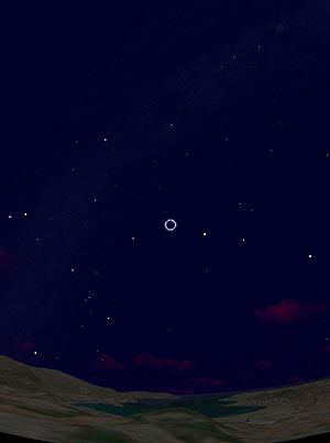 Recreación del eclipse del 16 de abril de 1178 a.C. visto desde las islas griegas. (Foto: PNAS)