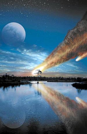 Recreación de la caída del meteorito que cayó sobre la Tierra hace 35 millones de años. (Foto: Science)