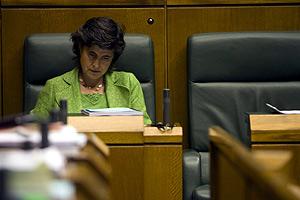 San Gil, durante un pleno en el Parlamento vasco el pasado 19 de junio. (Foto: Pablo Viñas)