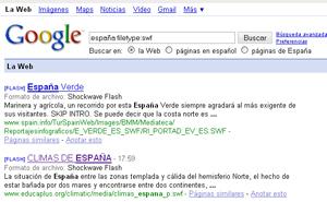 Una búsqueda de archivos en Flash en Google.