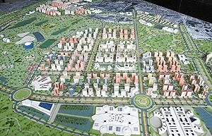 Maqueta de las miles de las miles de viviendas de VPO que se construirán en Alicante en el Plan Rabasa. (Foto: EL MUNDO)