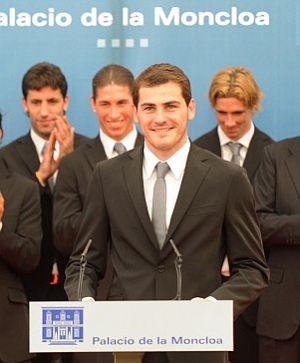 Iker Casillas, durtante la recepción en Moncloa, el pasado martes. (Foto: AFP)