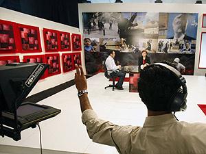 Interior del estudio de la cadena Future TV. (Foto: Reuters / Jamal Saidi)