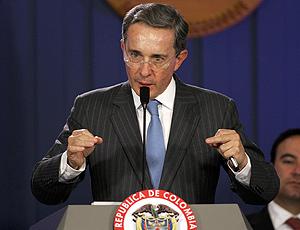 El presidente de Colombia, Álvaro Uribe Vélez, en Bogotá. (Foto: AP)