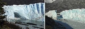 Comparación del túnel del Perito Moreno antes y después de su caída. (Foto: REUTERS)