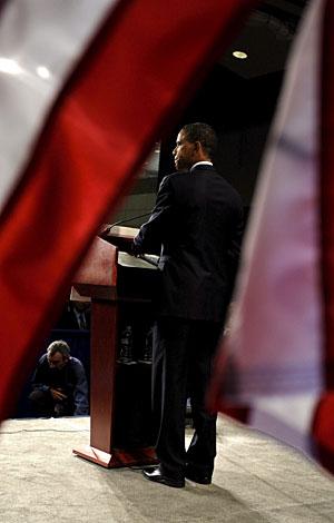 El candidato, durante el discurso que ha pronunciado en Washington. (Foto: EFE)