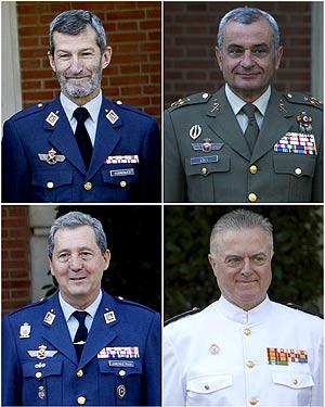 De izda. a dcha. y de arriba a abajo, José Julio Rodríguez, Fulgencio Coll, José Jiménez Ruiz y Manuel Rebollo. (Foto: EFE)