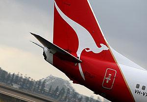 Vista de la cola de un avión de la aerolínea australiana Qantas. (Foto: AFP)