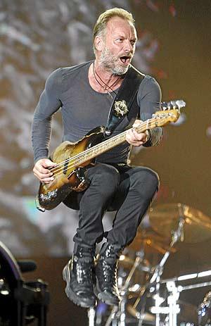 Sting, en la actuación de The Police en Rock in Rio. (Foto: Sergio González)