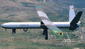 Un avión no tripulado Hermes 450, de fabricación israelí.