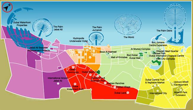 Plano de Dubai, la ciudad más poblada de los Emiratos, y sus desarrollos urbanos. (FOTO: EMIRATES REAL ESTATE)