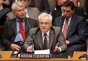 El embajador ruso ante ante la ONU, en el momento de su intervención. (Foto: AP)