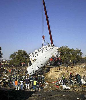 Imagen de los restos del avión tras el accidente