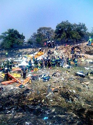 Lugar del siniestro del avión en el aeropuerto de Barajas. (Foto: A. V. G.)