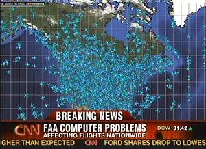 Imagen del espacio aéreo de EEUU emitida por la CNN. (Foto: AP)