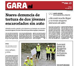 Portada del diario 'Gara' con el artículo de Aranzabal. (Foto: EL MUNDO)
