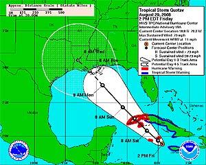 Trayectoria estimada que seguriría el huracán 'Gustav'. (Foto: CNH)