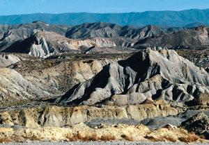 Vista panorámica del árido paisaje del desierto de Tabernas, en Almería. (Foto: José Lucas)